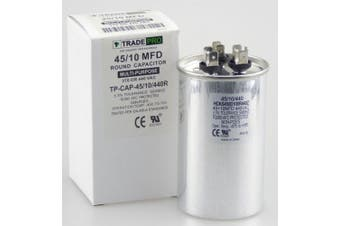 45/10 MFD 440 or 370 Volt Round Run Capacitor Replacement TradePro