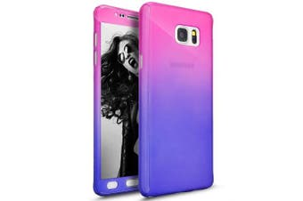 (Red Purple) - Galaxy Note 5 Case with Tempered Glass Screen Protector,PHEZEN 360 Front and Back Full Body Coverage Shockproof Hybrid Hard PC Armour Protective Case For Samsung Galaxy Note 5 (Gradient Red Purple)