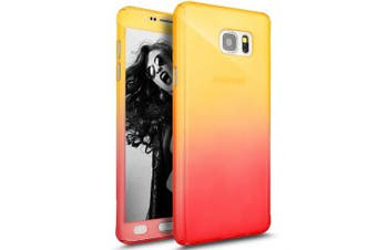 (Yellow Red) - Galaxy Note 5 Case with Tempered Glass Screen Protector,PHEZEN 360 Front and Back Full Body Coverage Shockproof Hybrid Hard PC Armour Protective Case For Samsung Galaxy Note 5 (Gradient Yellow Red)