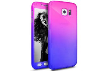 (Red Purple) - Galaxy S6 Edge Case with Tempered Glass Screen Protector,PHEZEN 360 Front and Back Full Body Coverage Shockproof Hybrid Hard PC Armour Protective Case For Samsung Galaxy S6 Edge (Gradient Red Purple)