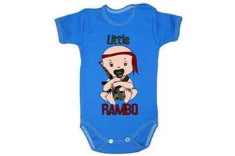 (6-9 months, 74 cm, Blue) - Colour Fashion Little Rambo Boy Girl Unisex Bodysuits Shortsleeve 100% Cotton Tiny Baby - 24 Months 0022