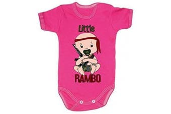(0-3 months, 62 cm, Pink) - Colour Fashion Little Rambo Boy Girl Unisex Bodysuits Shortsleeve 100% Cotton Tiny Baby - 24 Months 0022