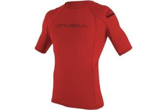 (Large, Red) - O'Neill Men's Basic Skins UPF 50+ Short Sleeve Rash Guard