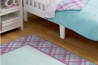 (Plaid and Gingham) - Kids Area Rug, Girls Purple and Turquoise Plaid | Children's Room Carpet | Delta Children