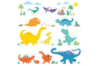 (Colourful Dinosaur) - Decowall DW-1703 Colourful Dinosaur Kids Wall Decals Wall Stickers Peel and Stick Removable Wall Stickers for Kids Nursery Bedroom Living Room