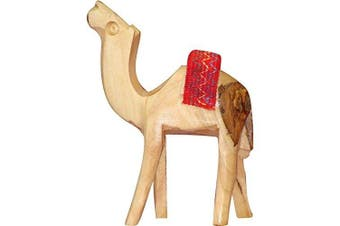 (Red Saddle, 20cm ) - Bethlehem Olive Wood Camel Figurine Statue from Jerusalem by Bethlehem Gifts TM (Red Saddle, 20cm )