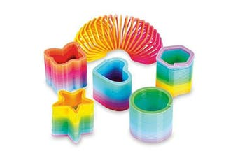 50 Assorted Miniature Rainbow Spring Slinky Toy - Multiple Shapes - Perfect Size for Kids - Bright Colours and Durable Designs - Awesome As Birthday Party Favours, Piñata Fillers, and Stocking Stuffers