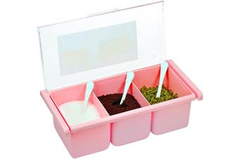 Southern Homewares SH-10168 3 Spice Seasoning Storage Box Container with 3 Serving Spoons, Pink