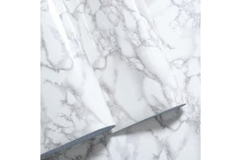 Mullsan White Grey Marble Gloss Vinyl Film Contact Paper 60cm x 200cm Roll