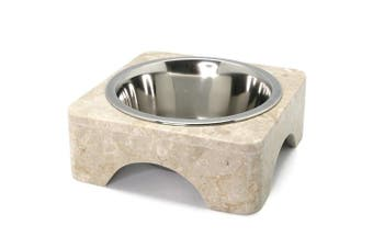 Creative Home 32698 1 pint Natural Champagne Marble Pet Food Water Bowl Set with Stainless Steel Bowl
