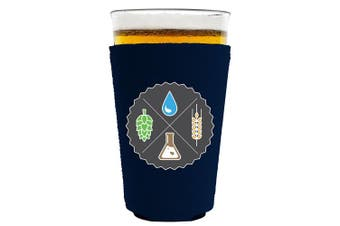 (Navy) - Coolie Junction Beer Ingredients Pint Glass Coolie, Neoprene Collapsible, Choice of Colours (Navy)