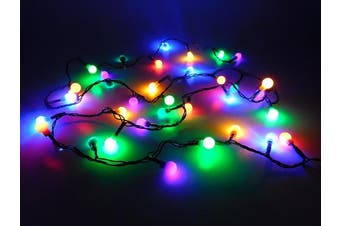 35 Multi Colour LED Berry Lights With 3m Green Cable - Christmas Tree Decorations - Indoor Lights