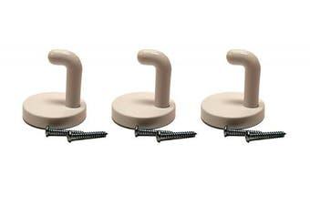 (3) - Set of 3 Black Duck Brand White Screw Mount Tube Hooks With Screws (3)