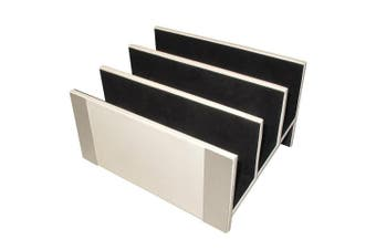 (White with Brushed Metal) - Architect Line Leather-Like Letter Sorter, White with Brushed Metal, Matching White Stitching and Velvet-Like Lining