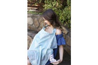 (Acapulco) - Bebe au Lait Premium Cotton Nursing Cover, Lightweight and Breathable Cotton, Open Neckline, One Size Fits All - Acapulco