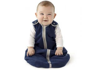 (Small (0-6 months), Navy) - Sleep nest Fleece Baby Sleeping Bag, Navy, Small (0-6 Months)