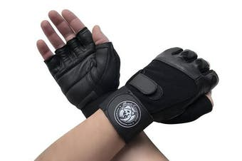 (Small, Black) - Gym Gloves with Wrist Support for Gym Workout, Crossfit,Weightlifting Black/White or Black Premium Quality Materials.