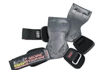 (Medium 17cm  - 19cm  Standard Wrist Size, Black Rubber) - Lifting Grips PRO Weight Gloves Best Heavy Duty Straps Alternative to Power Hooks Deadlifts Adjustable Neoprene Padded Wrist Wrap