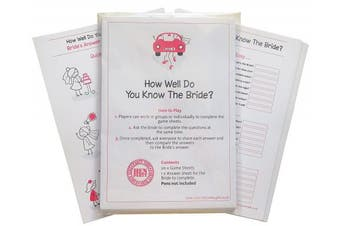 How Well Do You Know The Bride. Quiz Game including 20 Game Cards (plus one for the Bride)- Get your night going with Hen Party Games, Hen Night Games, Hen Party Quiz, Hen Night Quiz
