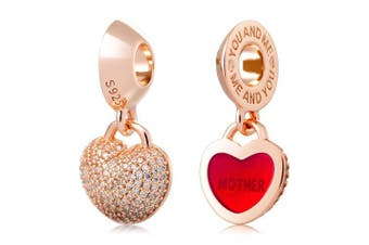 (Mother) - ATHENAIE 925 Silver Plated Rose Gold with Pave Clear CZ Heart Lock Love Mother Pendant Charm Beads