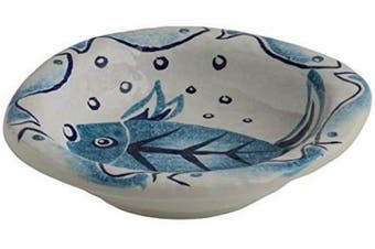"""(Soup Bowl) - Fish Soup Bowl, Oceanic Small Bowl, Handmade in Italy - Modigliani Sea Blue Dinnerware""""Mediterraneo Collection""""- Sea Themed Décor, Turquoise Blue and White Ceramic Dinnerware"""