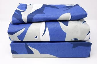 (Twin Sheet Set, SHARK) - All American Collection New 3pc Children's Sheet Set (Twin Sheet Set, SHARK)