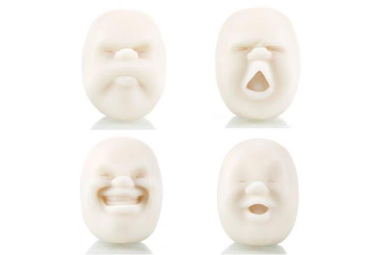 WildWave 4pcs/set Vent Human Face Ball Anti-stress Ball of Japanese Design Caomaru(White)