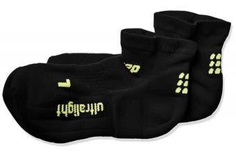 (Size 5, Black/Green) - CEP Men's Ankle Performance Running Socks Ultralight Low Cut (