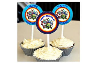 12 Happy Birthday RESCUE BOTS Inspired Party Picks, Cupcake Picks, CupcakeToppers