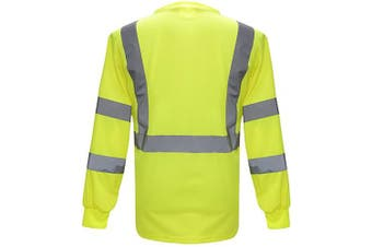 (Large, Yellow) - High Visibility Safety long sleeve shirt (Large, Yellow)