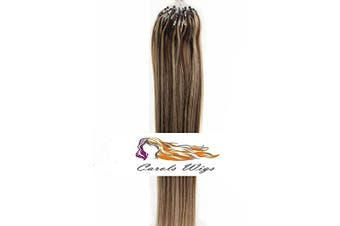 CarolsWigs® 50cm 1g/s Double Draw 7A* Medium Brown Mix Strawberry Blonde 4/27# 50s (50g) Russian Remy Loop Micro Ring Human Hair Extension UK Seller