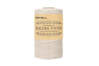 (200m, White) - Tenn Well 200m 3Ply Bakers Twine, Kitchen Cotton Twine Food Safe Cooking String Perfect for Trussing and Tying Poultry Meat Making Sausage DIY Crafts and Decoration (White)