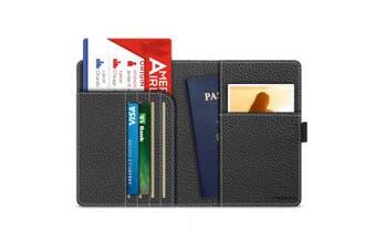 (Black) - MoKo RFID Blocking Passport Holder, Multi-purpose PU Leather Travel Wallet Case Cover - Black