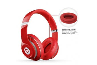 [REYTID] Apple Beats By Dr. Dre Studio 2.0 & Studio 2.0 Wireless RED Replacement Ear Pads Cushion Kit - Studio 2 - 1 Pair Earpads