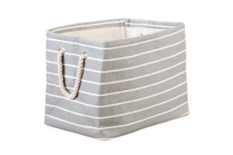 InterDesign Luca Fabric Storage, Bin with Handles For Blankets, Pillows, Clothing, Towels, Medium, Grey/Cream
