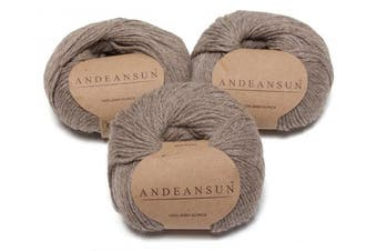 (#3 DK - Light, Light Rose Brown) - 100% Baby Alpaca Yarn (Weight #3) DK - Set of 3 - AndeanSun - Luxuriously Soft for Knitting, Crocheting - Great for Baby Garments, Scarves, Hats, and Craft Projects - (Light Rose Brown)