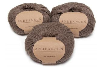 (#3 DK - Light, Heather Light Brown/Grey) - 100% Baby Alpaca Yarn (Weight #3) DK - Set of 3 - AndeanSun - Luxuriously Soft for Knitting, Crocheting - Great for Baby Garments, Scarves, Hats, and Craft Projects - (Heather Light Brown)