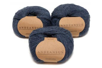 (#3 DK - Light, Heather Steel Blue/Grey) - 100% Baby Alpaca Yarn (Weight #3) DK - Set of 3 - AndeanSun - Luxuriously Soft for Knitting, Crocheting - Great for Baby Garments, Scarves, Hats, and Craft Projects -(Heather Steel Blue Grey)