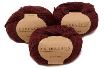 (#3 DK - Light, Heather Burgundy/Black) - 100% Baby Alpaca Yarn (Weight #3) DK - Set of 3 - AndeanSun - Luxuriously Soft for Knitting, Crocheting - Great for Baby Garments, Scarves, Hats, and Craft Projects - (Burgundy)