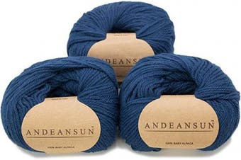 (#3 DK - Light, Steel Blue) - (Set of 3) 100% Baby Alpaca Yarn DK #3 (150 Grammes Total) Luxurious Cosy and Caring Soft to Enjoy Knitting, Crocheting and Weaving - Gorgeous Twist and Stitch Definition (Steel Blue)