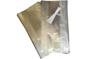 """(100, 12"""" h x 6"""" w x 3"""" d) - Gusset cellophane bags - clear cello for sweets or display - food safe - all with white twist ties - multi listing - various sizes and quantities available - blu SKIDDOO tm"""