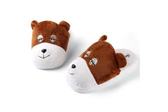 (Bear, Adult Size 20cm  - 30cm ) - Aerusi SEC20200L Men or Women's Adult Animal Plush Slippers, Bear Brown, 20cm - 30cm