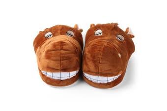 (Brown Horse, Children's Size 2.5cm  - 10cm ) - Aerusi SEC20400S Kid's Animal Plush Slippers, Brown Horse, 2.5cm - 10cm