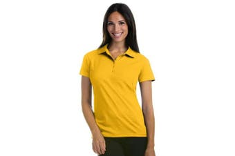 (Small, Gold) - Antigua Women's Pique Xtra-Lite Desert Dry Polo Shirt