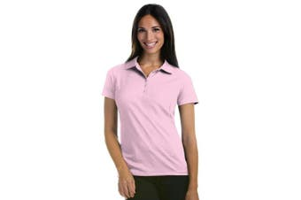 (Large, Pink) - Antigua Women's Pique Xtra-Lite Desert Dry Polo Shirt