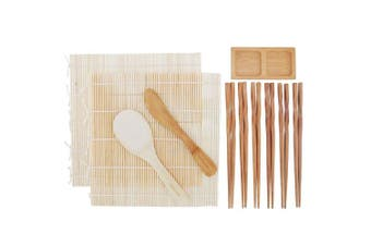 (Natural Rolling Kit Deluxe) - BambooMN Sushi Rolling Kit 2x Natural Bamboo Rolling Mats, 1x Rice Paddle, 1x Spreader, 1x Compartment Sauce Dish and 6 Prs Chopsticks