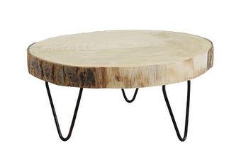 (9) - Creative Co-op DA7522 Small Paulownia Wood Pedestal with Metal Legs