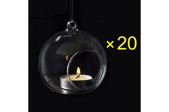 (12) - 12pcs Crystal Glass Hanging Candle Holder Plant Terrarium Candlestick Holder Romantic Home Wedding Dinner Decor