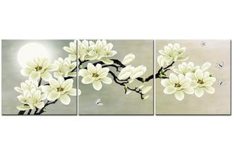 (12×30cm ×3pcs) - Natural art – White Magnolia & Butterfly Under the Moon Modern Giclee Canvas Prints Paintings to Photo Printed Artwork for Wall Decor