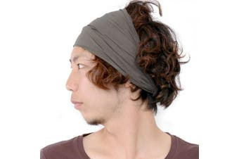 (Charcoal Gray) - CHARM Casualbox | Mens Womens Elastic Bandana Headband Japanese Long Hair Dreads Head Wrap